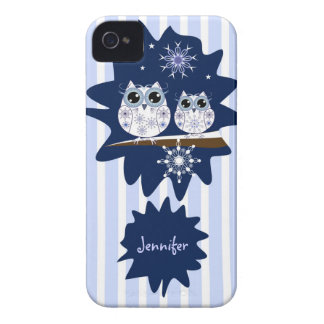 Snow owls, snowflakes & custom Name iPhone 4 Covers
