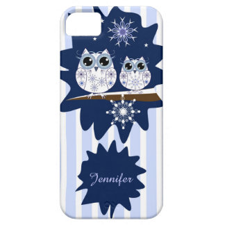 Snow owls, snowflakes & custom Name iPhone 5 Covers