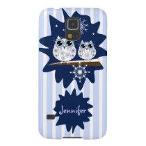 Snow owls, snowflakes & custom Name Galaxy S5 Case