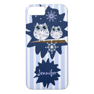 Snow owls, snowflakes & custom Name iPhone 7 Case