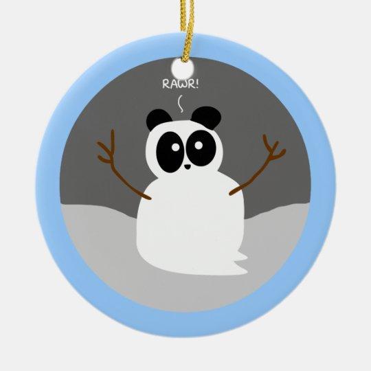Snow Panda Ceramic Ornament