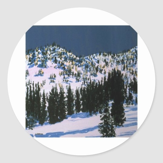 snow paper classic round sticker
