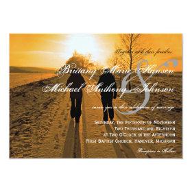 Snow Path Sunset Winter Wedding Invitations 4.5