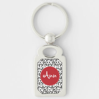 Snow pattern in black and white keychain