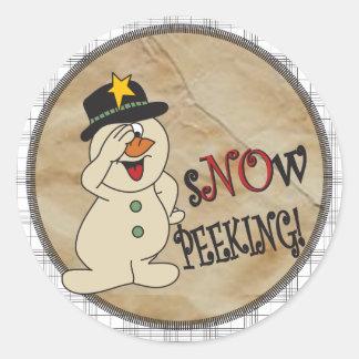 Snow Peeking Snowman Classic Round Sticker