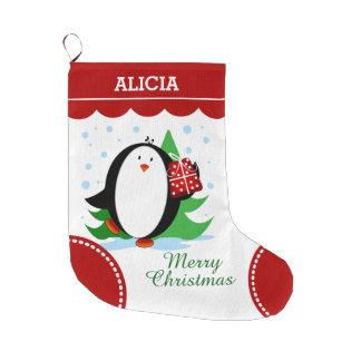 Snow Penguin Large Christmas Stocking
