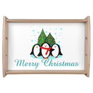 Snow Penguins Christmas Service Trays