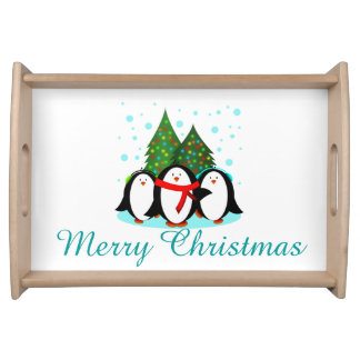 Snow Penguins Christmas Serving Tray