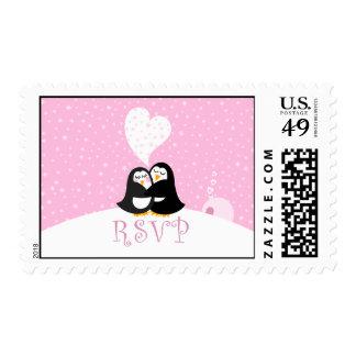 Snow Penguins RSVP Postage Stamp