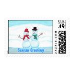 Snow People Waving Seasons Greetings stamps