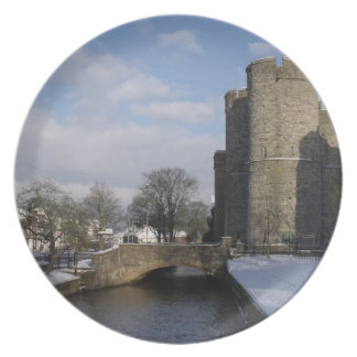 Snow Picture Plate - The West Gate Canterbury