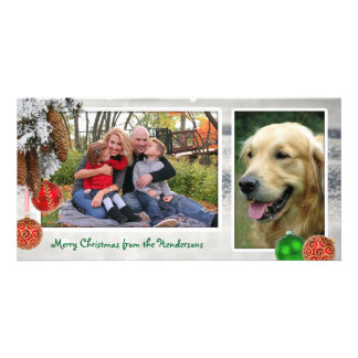 Snow Pine Cones Two Photo Christmas Card