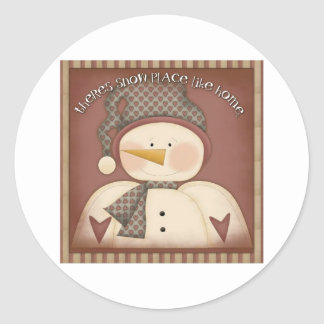 Snow place like home classic round sticker