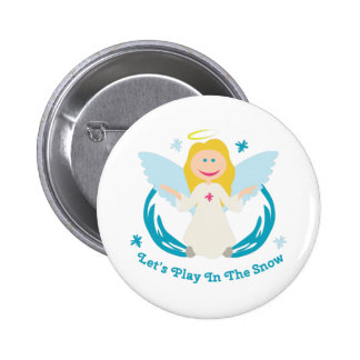 Snow Play Angel Button