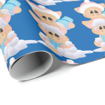 Snow playing tiled Christmas pig wrapping paper