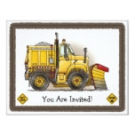 Snow Plow Construction Kids Party Invitation