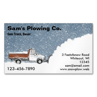 Snow Plow Plowing Service Removal Magnetic Business Card