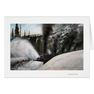 Snow Plow Railroad Clearing Tracks in Rocky Greeting Card