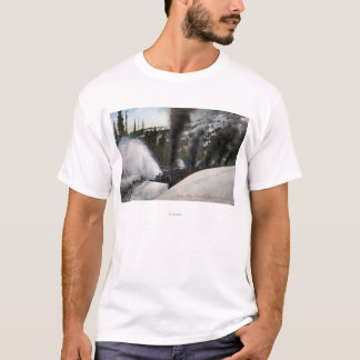 Snow Plow Railroad Clearing Tracks in Rocky T-Shirt