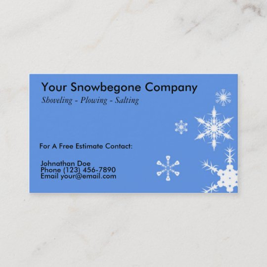 Snow Plowing Removal Business Card Horizontal Bl