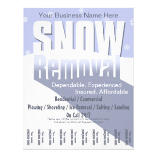 "Snow Plowing Service. Removal Business. 8.5"" X 11"" Flyer"
