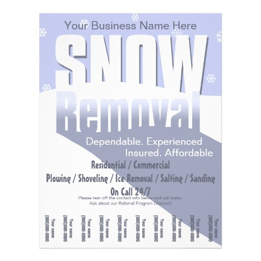 Snow Removal Flyer Invoice Templates Free Printable Sample Ms