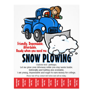 "Snow Plowing Service. Snow Removal business. 8.5"" X 11"" Flyer"