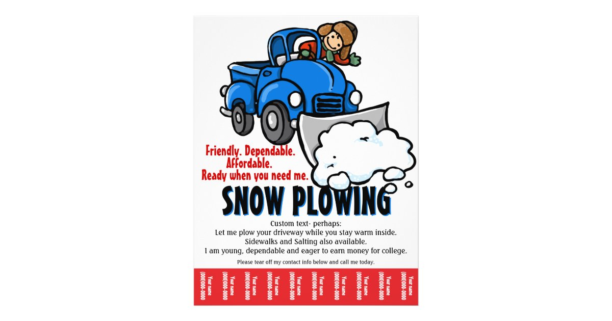 Snow Plowing Service. Snow Removal business. Flyer | Zazzle