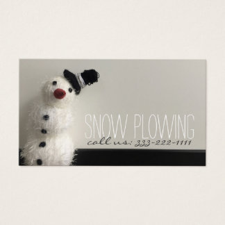 Snow Plowing Service Snowman Photo Business Card