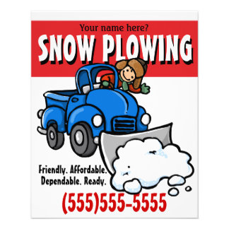 "Snow Plowing. Snow Removal Business Service. 4.5"" X 5.6"" Flyer"