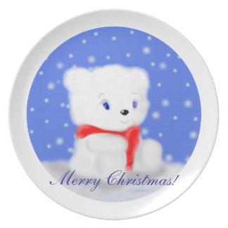Snow Polar Bear Christmas Plate