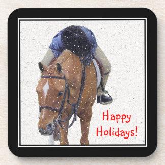 Snow Pony Holiday Beverage Coasters