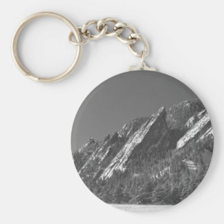 Snow Powder Dusted Flatirons Boulder CO BW Keychain