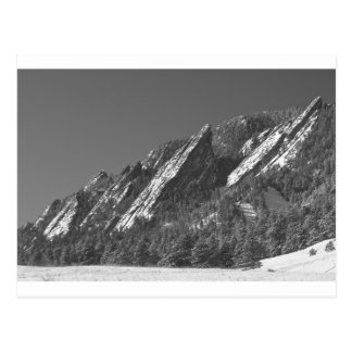 Snow Powder Dusted Flatirons Boulder CO BW Postcard