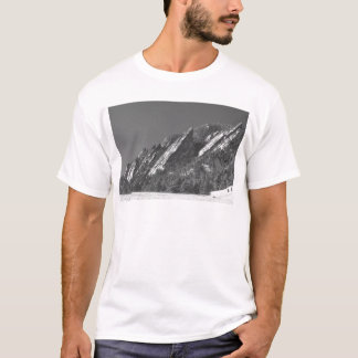 Snow Powder Dusted Flatirons Boulder CO BW T-Shirt