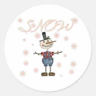 Snow Primsical Snowman Classic Round Sticker