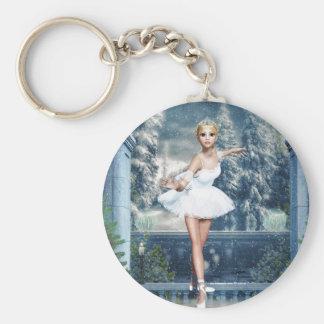 Snow Princess Ballerina Christmas Round Keychain