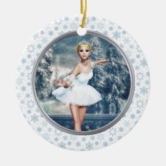 Snow Princess Ballerina Double Sided Art Ornament