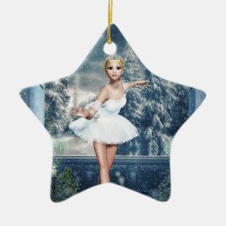 Snow Princess Ballerina Double Sided Star Ornament