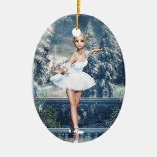 Snow Princess Ballerina Oval Double Sided Ornament
