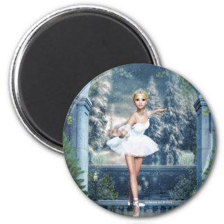 Snow Princess Ballerina Round Magnet