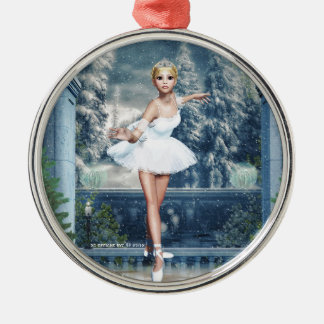 Snow Princess Ballerina Round Silver Art Ornament