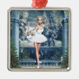 Snow Princess Ballerina Square Silver Art Ornament