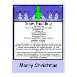 snow pudding, Merry Christmas Postcard