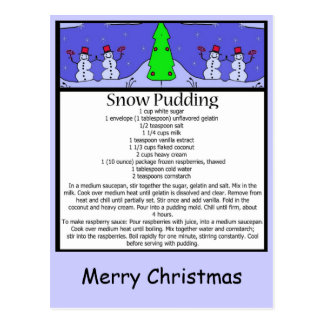 snow pudding, Merry Christmas Postcard