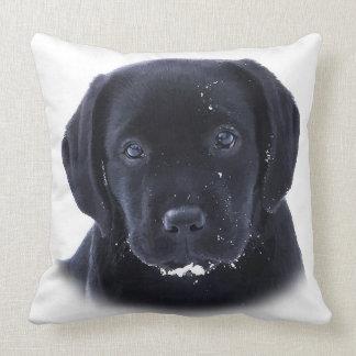 Snow Puppy - Black Labrador Throw Pillow