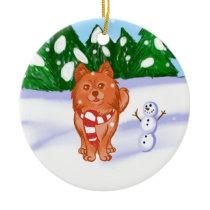 Snow Puppy Ceramic Ornament