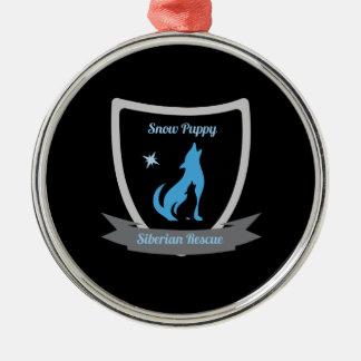 Snow Puppy Siberian Rescue Round Ornament
