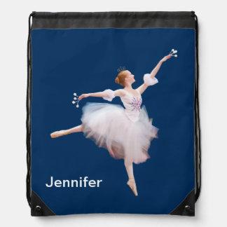 Snow Queen Ballerina Customizable Name Cinch Bag