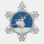Snow Queen Ballerina Customizable Snowflake Pewter Christmas Ornament